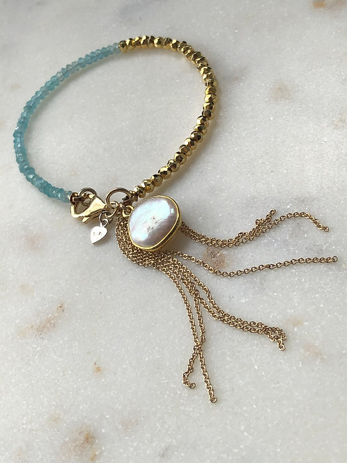Beaded Duo Bracelet with Tassel and Gem Drop