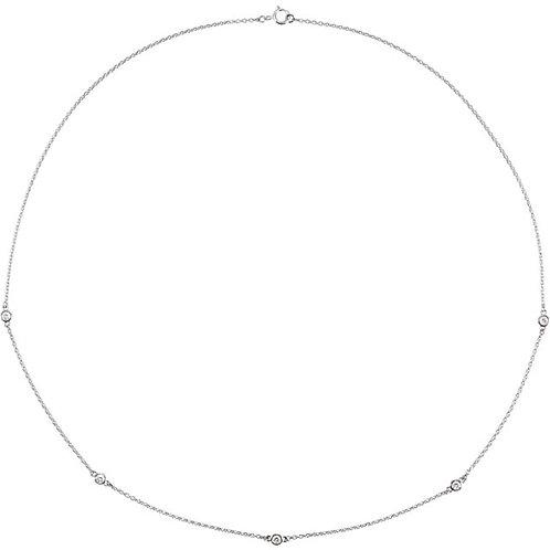 14k Gold Multi Bezel Diamond Necklace
