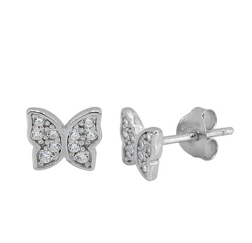 Silver Sparkly Butterfly Studs