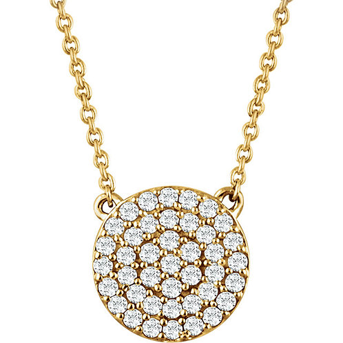 14k Gold Diamond Disc Necklace