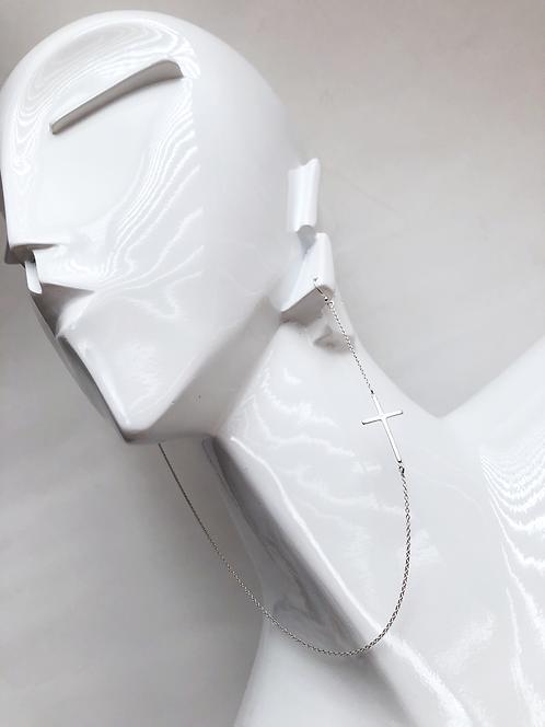 Asymmetrical Linked Cross Earring