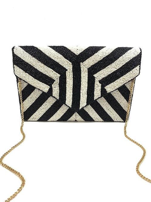 Black & White Striped Beaded Clutch