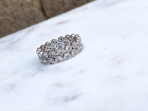 Silver Duo Sparkly Eternity Band