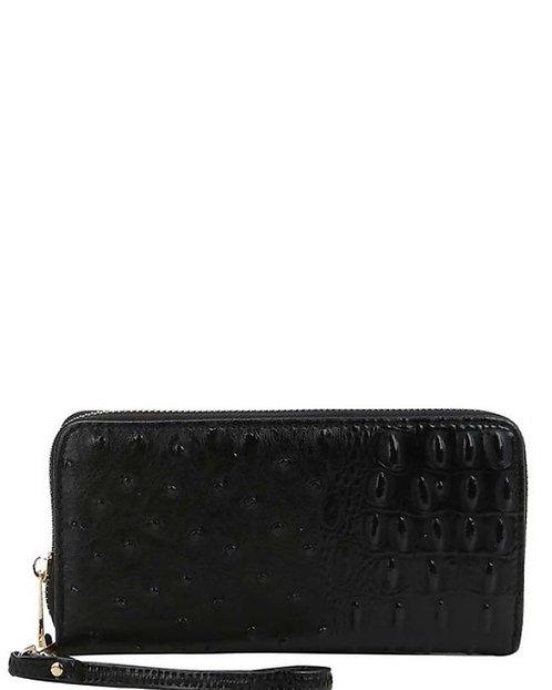 Black Vegan Leather Embossed Croc Zip Wristlet Wallet