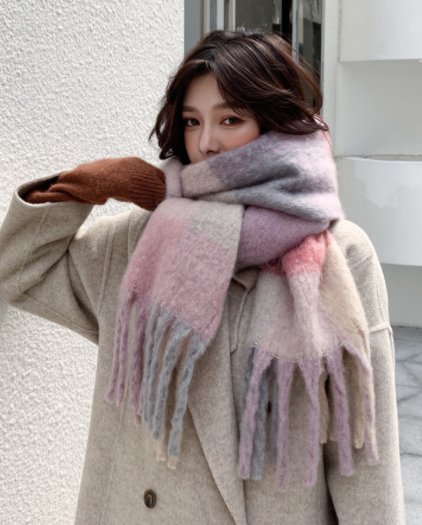 Chunky Rose Tone Blocked Cashmere Scarf with Tassel