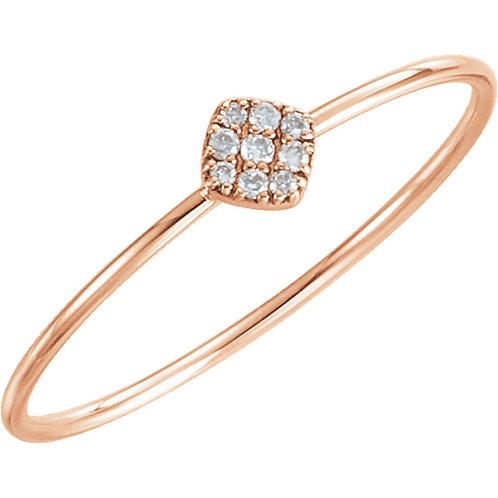 Dainty Square Head Diamond Ring