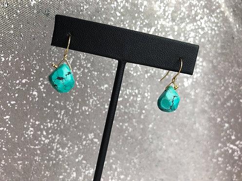 Turquoise Flat Briolette Gem Dangle Earrings