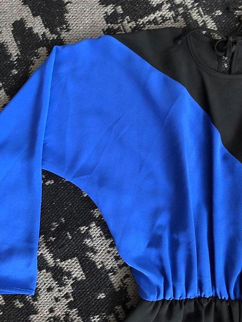 Black & Blue Long Sleeve Dress Sz 12