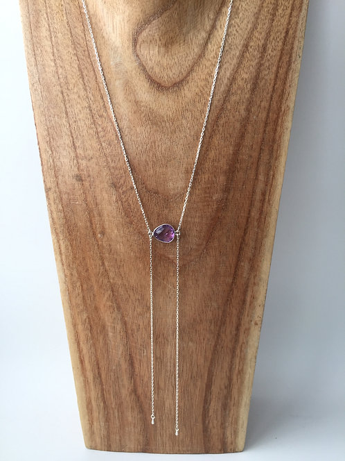 Wing Necklace with Small Gem Center Piece