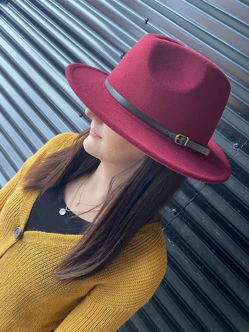 Coloured Woollen Fedora with Brown Faux Strap Detail