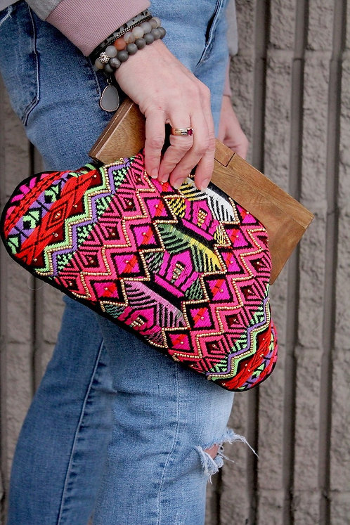 Colourful Hand Beaded Clutch  with Wood Handle