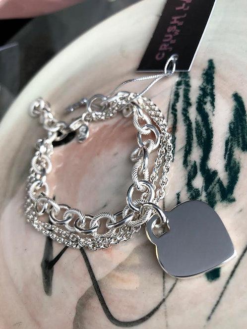 Silver Chunky Multi Chain Bracelet w/ Heart Disc