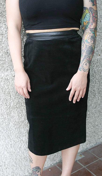 'Just Petites' Genuine Leather Pencil Skirt