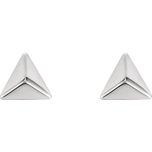14k Gold 3-Sided Pyramid Stud Earrings