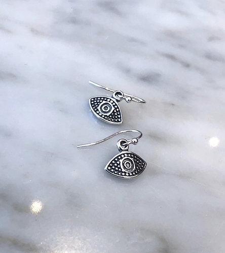 Silver Evil Eye Dangle Earrings