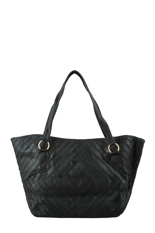 Genuine Black Leather Tote with Patchwork and Metal Rings