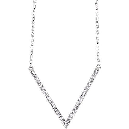 14k Gold Diamond 'V' Necklace