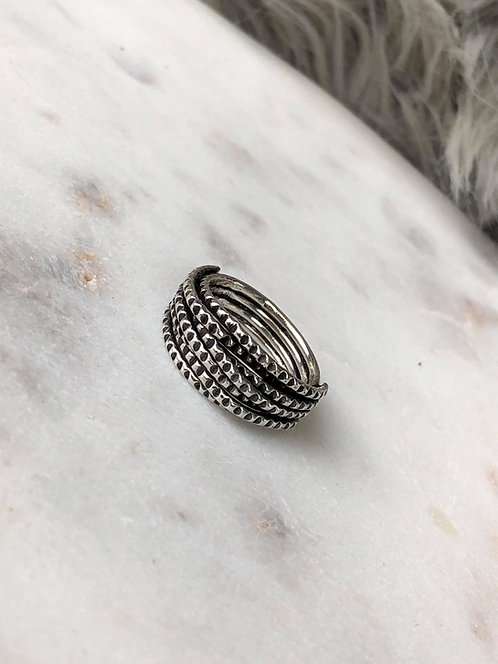 Antiqued Silver Multi Band Ring