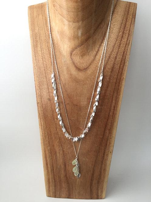 Double Strand Silver Leaf Fringe and Gem Drop Necklace