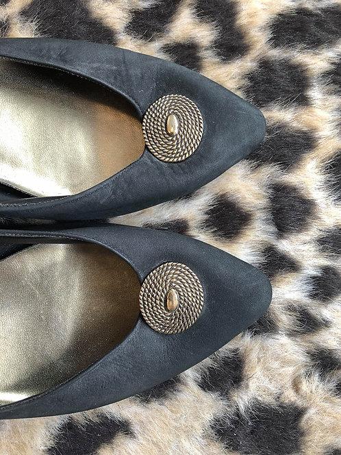 Black Heels with Brass Detail