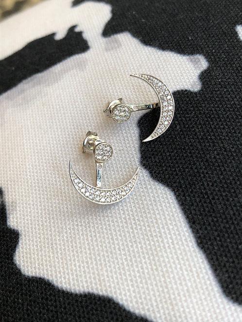 Silver Sparkly Round Studs w/ Crescent Jacket