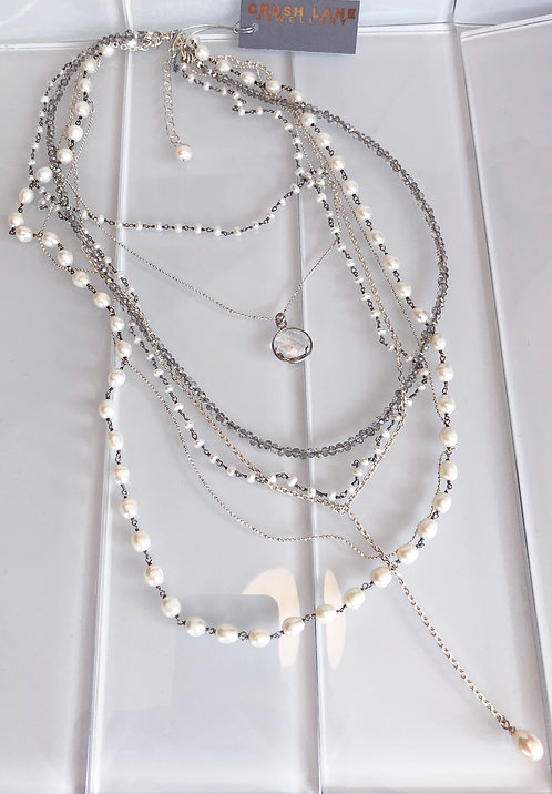 Multi-strand Neckpiece with Crystal and Pearls