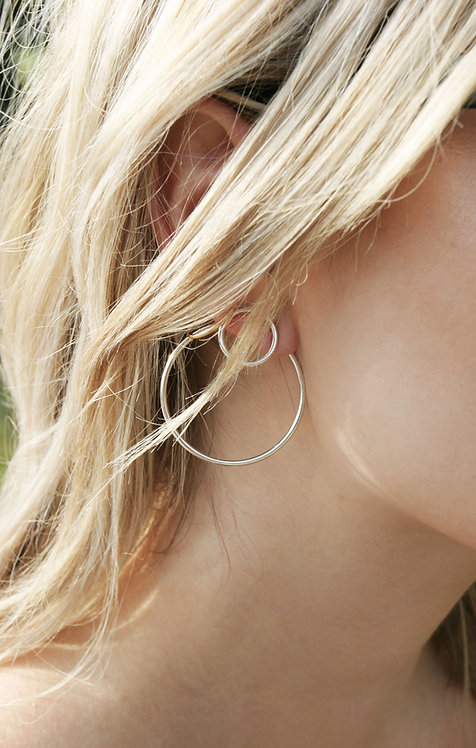 Silver Double Circle Jacket Earrings