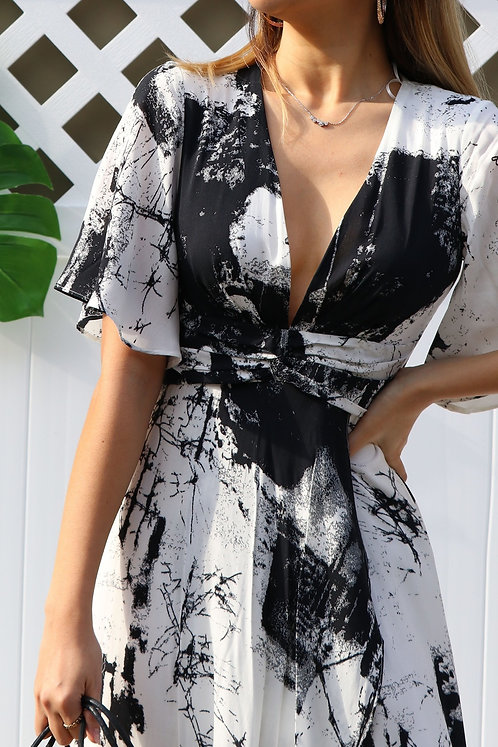 Printed Twist Band Maxi Dress