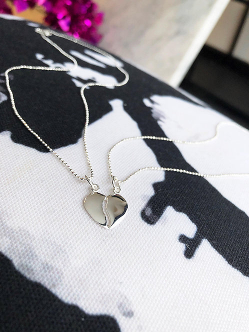 Silver Friendship Heart Necklace