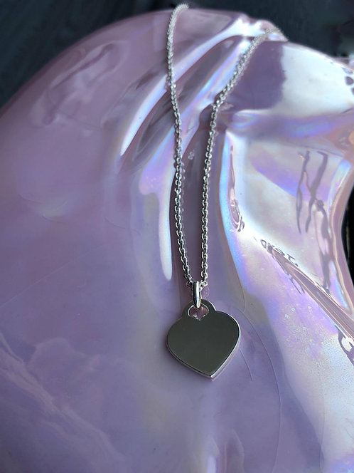 Silver Chunky Heart Disc Necklace