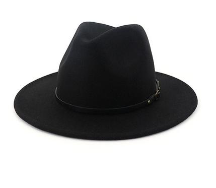 Classic Black Woolen Panama Hat