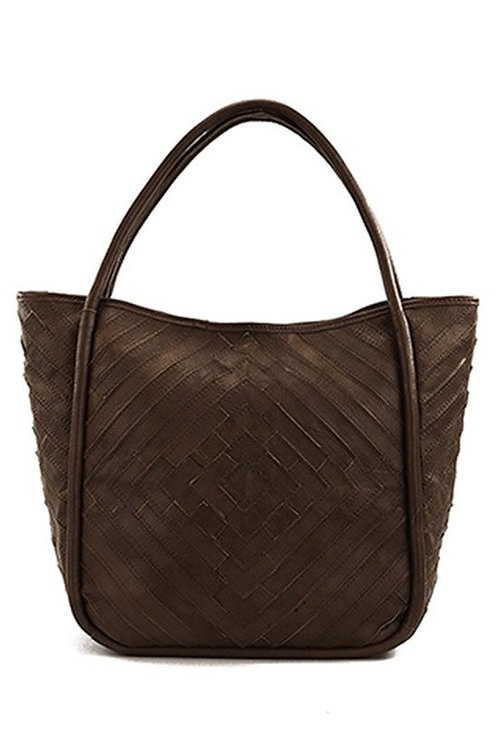 Genuine Brown Leather Tote with Patchwork