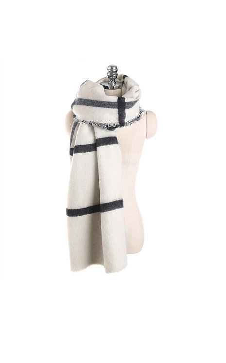 Chunky Pashmina Black and White Stripe Print Scarf