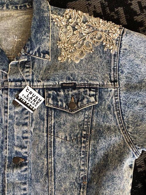 Repurposed 'Wrangler' Acid-wash Denim Jacket