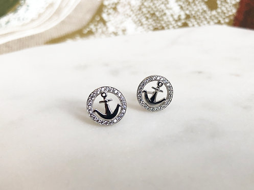 Anchor Studs with Sparkly Halo