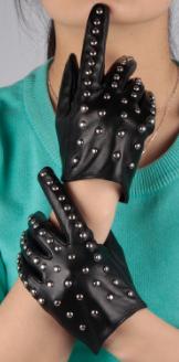 Genuine Black Leather Studded Gloves
