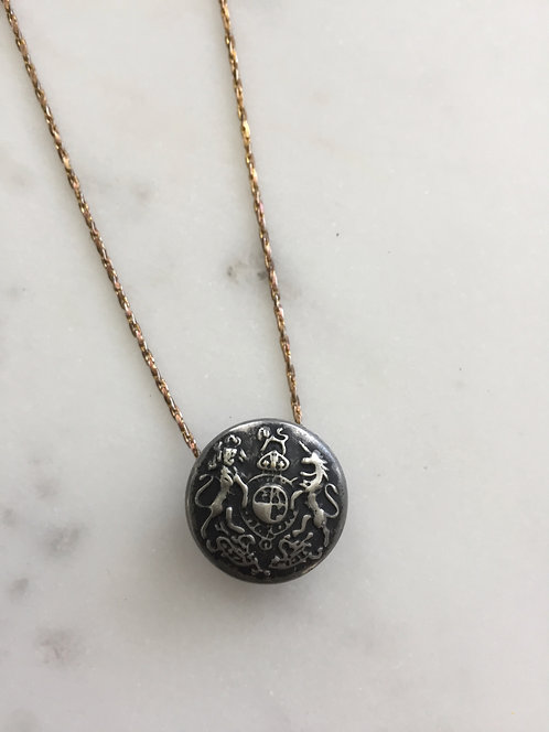 2-tone Vintage Button with Chain