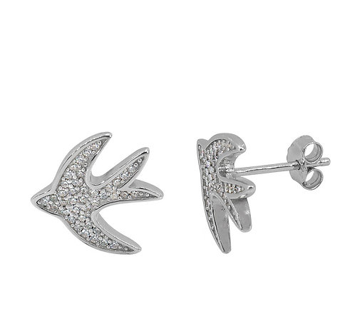 Silver Sparkly Pave Bird Studs
