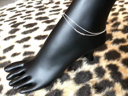Double Chain with Mini Bead Anklet