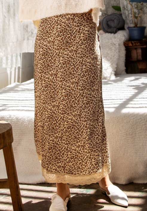 Leopard Satin-Like Skirt with Lace Detail