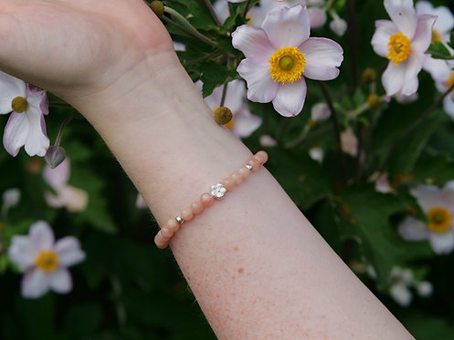 Pink Moonstone Flower Bracelet