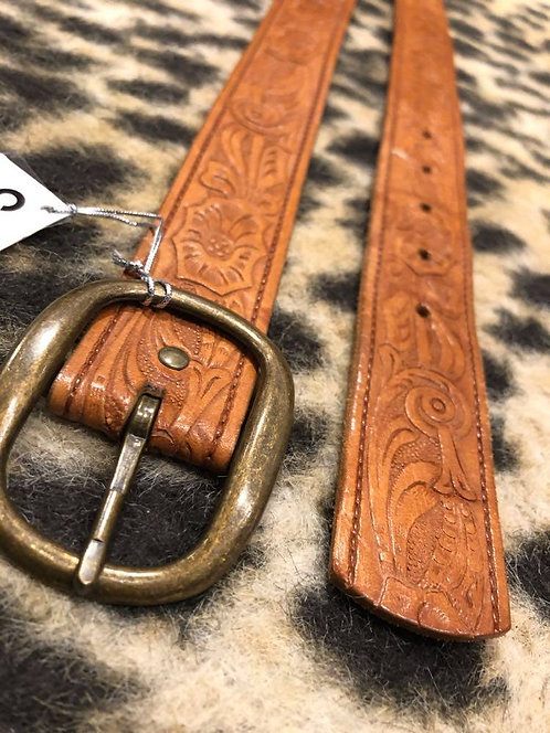 Brown Genuine Leather Belt with Patterns