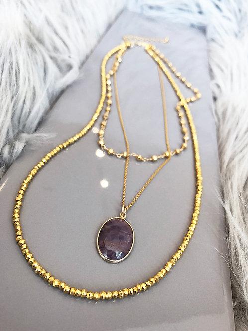 Multi-strand Gold Pyrite and Pink Sapphire Neckpiece