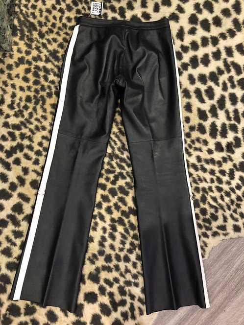 Black Genuine Leather Pants w/ White Stripe