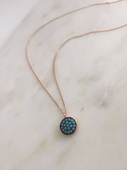 Rose Gold Turquoise 'Solid Disc' Pendant
