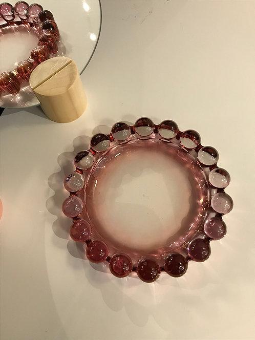 Pink Glass Medallion Catch Tray