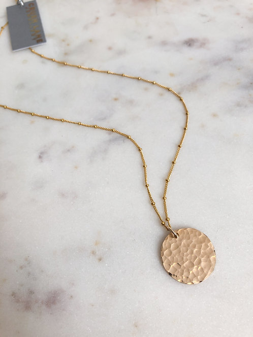 14k Gold Filled Hammered Disc Pendant with Decorative Chain