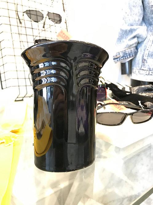 Black Ceramic Wide Mouth Vase