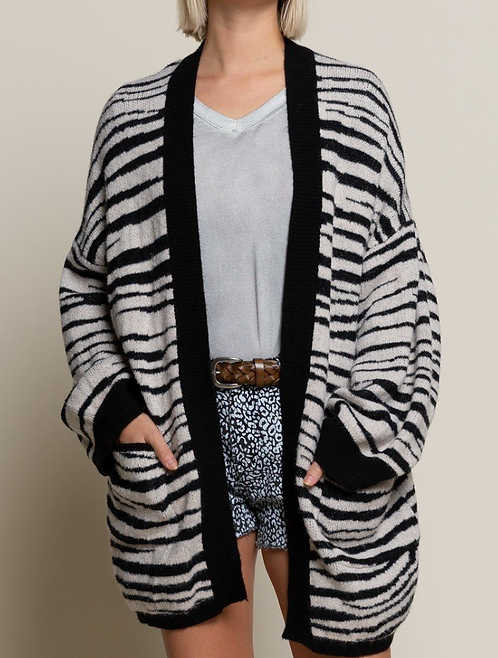 Oversized Ultra Soft Zebra Cardigan