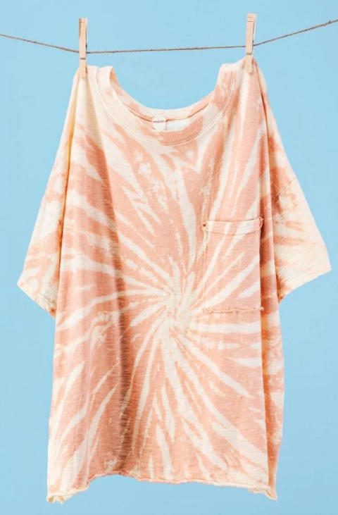 Distressed Tie-dye Oversized T with Pocket